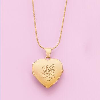 "18kt Yellow Gold ""I Love You"" Script  Heart Locket Necklace, , default"