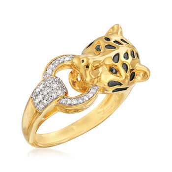 .10 ct. t.w. Diamond Cheetah Ring in 18kt Gold Over Sterling
