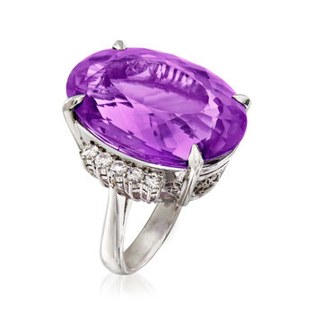 C. 1970 Vintage 37.65 Carat Amethyst and .50 ct. t.w. Diamond Ring in Platinum. Size 8, , default