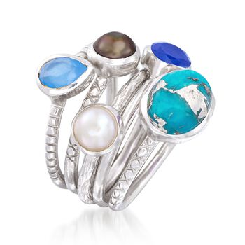 Blue Multi-Stone and 6mm Black and White Cultured Pearl Jewelry Set: Five Rings in Sterling Silver, , default