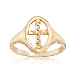 14kt Yellow Gold Cut-Out Cross Oval Ring, , default