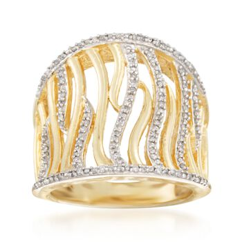 .25 ct. t.w. Diamond Waves Ring in 14kt Gold Over Sterling. Size 6, , default
