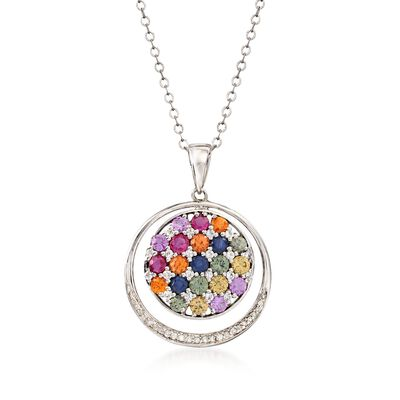 3.10 ct. t.w. Multicolored Sapphire and .10 ct. t.w. Diamond Circle Pendant Necklace in Sterling Silver, , default