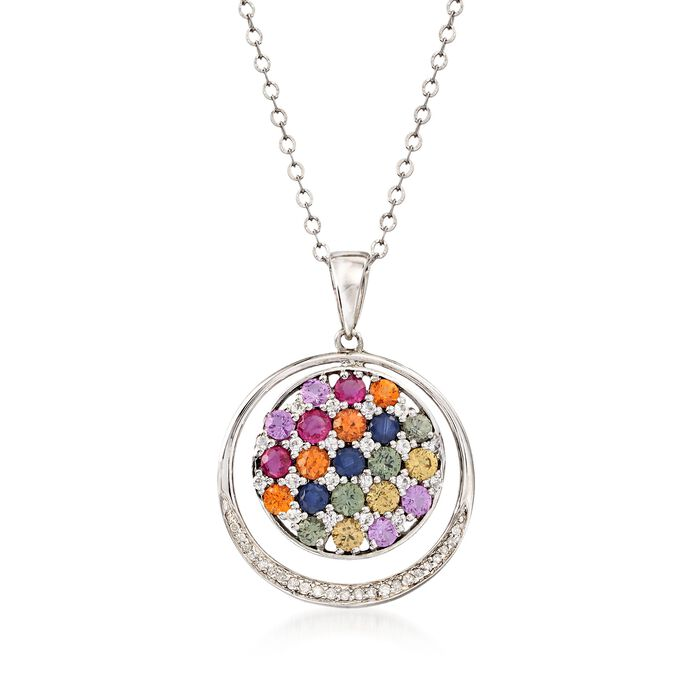 """3.10 ct. t.w. Multicolored Sapphire and .10 ct. t.w. Diamond Circle Pendant Necklace in Sterling Silver. 18"""", , default"""
