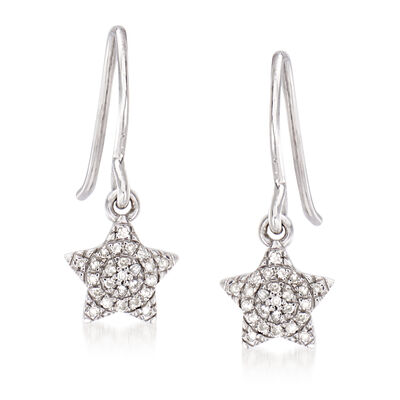 .10 ct. t.w. Diamond Star Drop Earrings in Sterling Silver