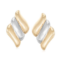 14kt Two-Tone Gold Diagonal Stripe Clip-On Earrings, , default
