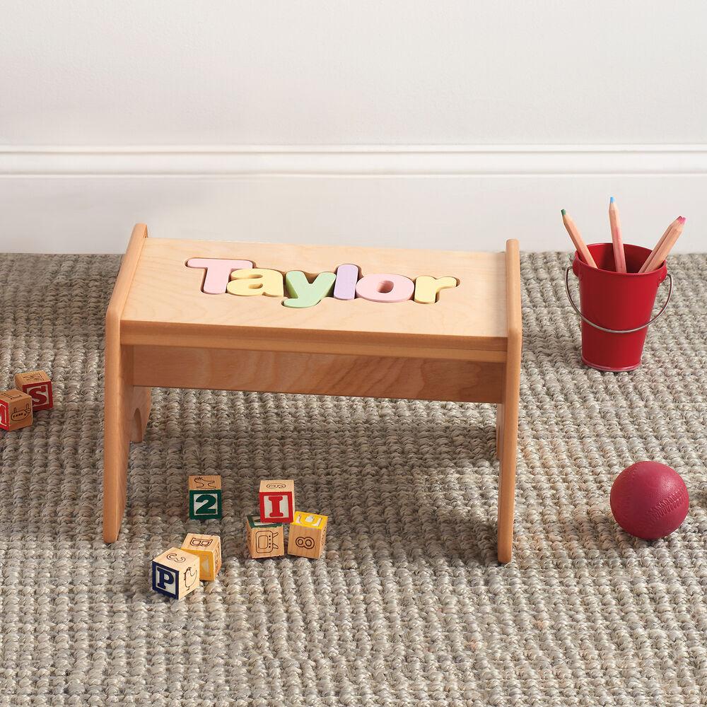Child S Maple Finished Personalized Name Puzzle Stool