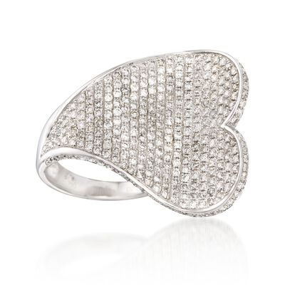 2.20 ct. t.w. Pave Diamond Heart Ring in 18kt White Gold, , default