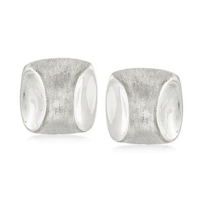 Italian 18kt White Gold Square Clip-On Earrings, , default