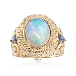 Opal and .40 ct. t.w. Sapphire Ring With Diamonds in 14kt Yellow Gold, , default