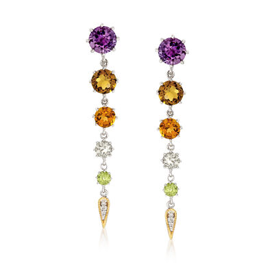 "Andrea Candela ""Fugaz"" 8.60 ct. t.w. Multi-Gemstone and Diamond Earrings in 18kt Yellow Gold and Sterling Silver"