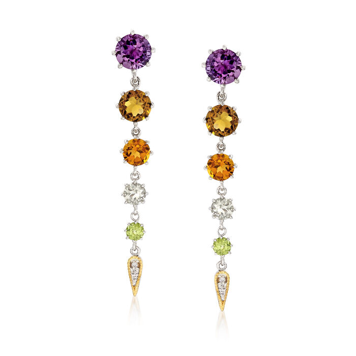 """Andrea Candela """"Fugaz"""" 8.60 ct. t.w. Multi-Gemstone and Diamond Earrings in 18kt Yellow Gold and Sterling Silver"""