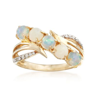Opal and .11 ct. t.w. Diamond Curved Ring in 14kt Yellow Gold, , default