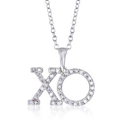 ".25 ct. t.w. Diamond XO Pendant Necklace in 14kt White Gold. 16"", , default"