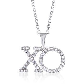 """.25 ct. t.w. Diamond XO Pendant Necklace in 14kt White Gold. 16"""", , default"""