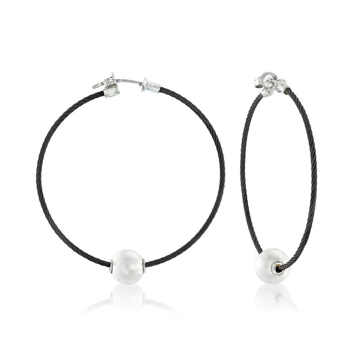 "ALOR ""Classique"" 8mm Cultured Pearl and Black Stainless Steel Cable Hoop Earrings with 18kt White Gold"