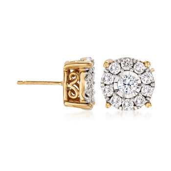 1.00 ct. t.w. Diamond Cluster Stud Earrings in 14kt Yellow Gold