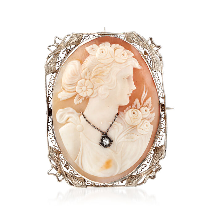 C. 1950 Vintage Shell Cameo Pin/Pendant with Diamond Accent in 14kt White Gold, , default