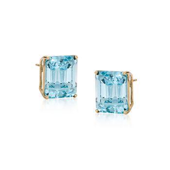 10.00 ct. t.w. Blue Topaz Earrings in 14kt Yellow Gold, , default