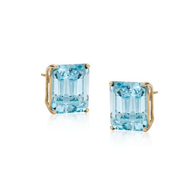10.00 ct. t.w. Blue Topaz Earrings in 14kt Yellow Gold, , default