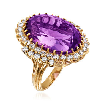 C. 1970 Vintage 24.40 Carat Amethyst and 1.55 ct. t.w. Diamond Ring in 14kt Yellow Gold. Size 5.5