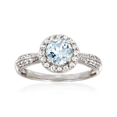 .70 Carat Aquamarine and .30 ct. t.w. White Sapphire Ring in 14kt White Gold, , default
