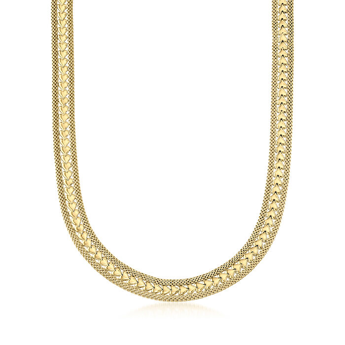 Italian 18kt Yellow Gold Over Sterling Silver Heart Necklace