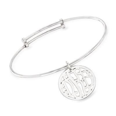 Sterling Silver Personalized Monogram Bangle Bracelet, , default