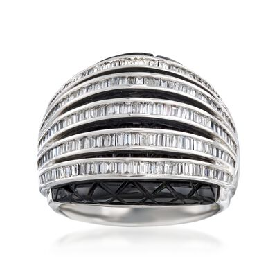 24x20mm Black Onyx and 1.05 ct. t.w. Diamond Dome Ring in 18kt White Gold, , default