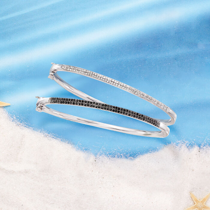 .33 ct. t.w. Black and White Diamond Jewelry Set: Two Bangle Bracelets in Sterling Silver