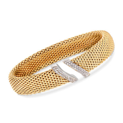 .42 ct. t.w. CZ Open-Front Cuff Bracelet in 18kt Gold Over Sterling, , default