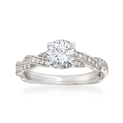 Simon G. .20 ct. t.w. Diamond Engagement Ring Setting in 18kt White Gold