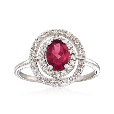 .90 Carat Rhodolite Garnet and .50 ct. t.w. White Topaz Double Halo Ring in Sterling Silver, , default