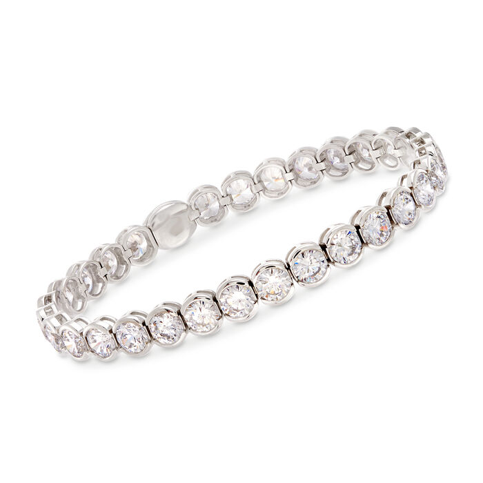 15.00 ct. t.w. CZ Tennis Bracelet with Magnetic Clasp in Sterling Silver, , default