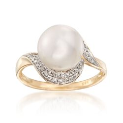 9.5mm Cultured Pearl and .25 ct. t.w. Diamond Ring in 14kt Yellow Gold, , default