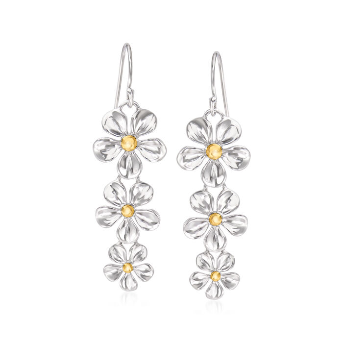 Sterling Silver and 14kt Yellow Gold Flower Drop Earrings