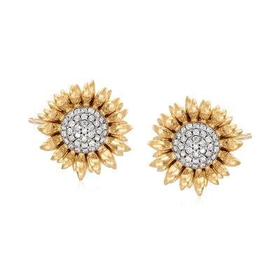 1.00 ct. t.w. Diamond Sunflower Earrings in 18kt Gold Over Sterling