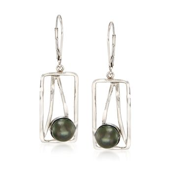 8mm Black Cultured Tahitian Pearl and Open-Space Sterling Silver Rectangle Drop Earrings , , default