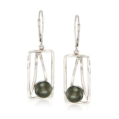 8mm Black Cultured Tahitian Pearl and Open-Space Sterling Silver Rectangle Drop Earrings, , default