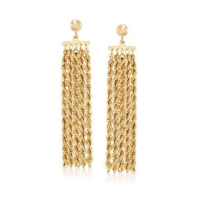 14kt Yellow Gold Roped Fringe Drop Earrings, , default