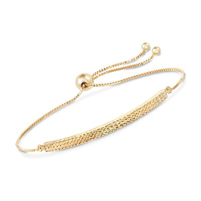 14kt Yellow Gold Diamond-Cut Bolo Bracelet, , default