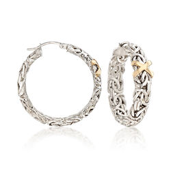 Byzantine Hoop Earrings in Sterling Silver and 14kt Yellow Gold, , default