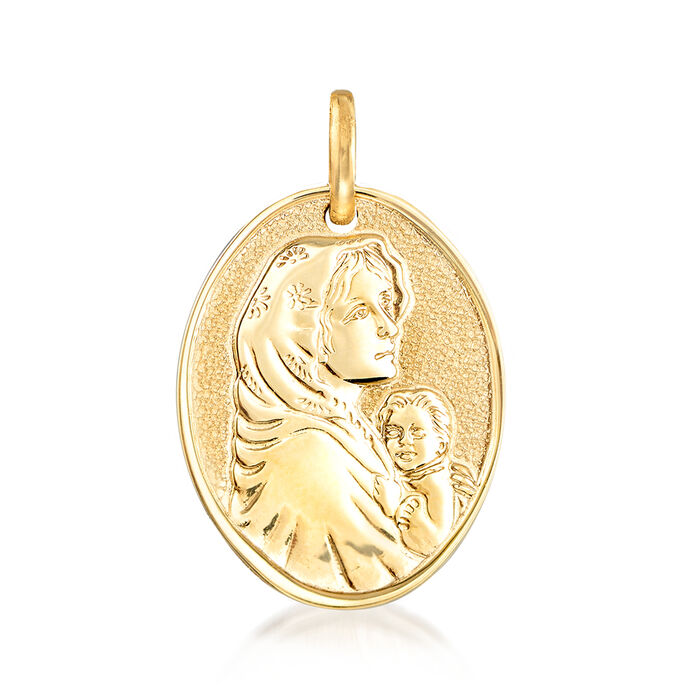 Italian 14kt Yellow Gold Blessed Mother  Pendant