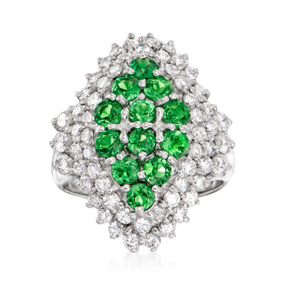 C. 1990 Vintage 1.68 ct. t.w. Green Garnet and 1.60 ct. t.w. Diamond Ring in Platinum