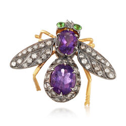 C. 1970 Vintage 3.65 ct. t.w. Amethyst and 1.10 ct. t.w. Diamond Bee Pin With Tsavorites, , default