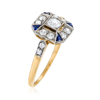 C. 1930 Vintage .65 ct. t.w. Diamond Ring with Synthetic Sapphire Accents in 14kt Two-Tone Gold. Size 7