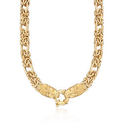 "Italian 24kt Gold Over Sterling Double Lion Head Necklace With Byzantine and Oval Links. 18"", , default"