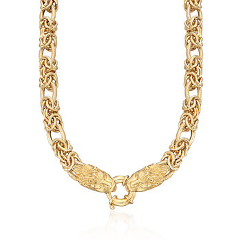"""Italian 24kt Gold Over Sterling Double Lion Head Necklace With Byzantine and Oval Links. 18"""", , default"""