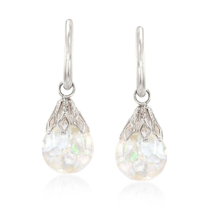 """Floating Opal Hoop Drop Earrings in 14kt White Gold. 1"""""""