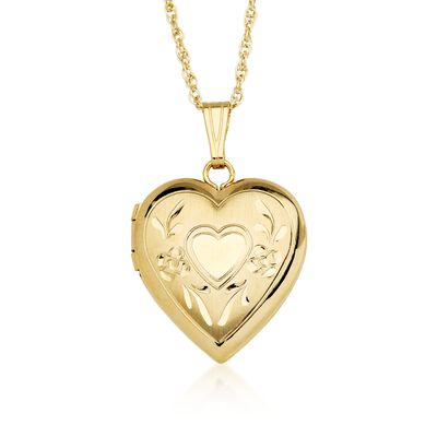 14kt Yellow Gold Engraved Heart Locket Necklace, , default